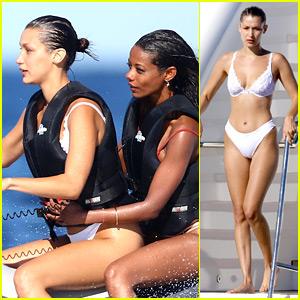 Bella Hadid Wears White Lace Bikini for Jetskiing in Cannes!