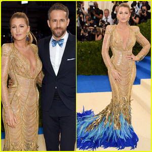 Blake Lively Flaunts Blue Feathers at Met Gala 2017 With Ryan Reynolds