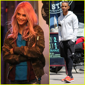 Cara Delevingne Rocks Pink Wig on Set of 'Life in a Year'