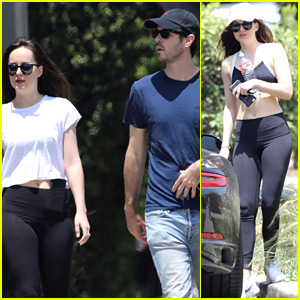 Dakota Johnson Flaunts Post-Workout Body Alongside Male Pal