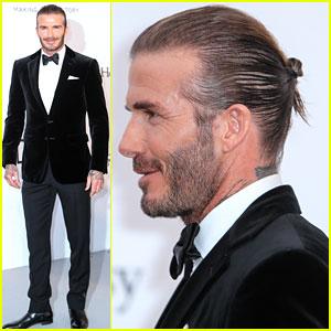 David Beckham Pulls His Hair Back for amfAR Cannes Gala!