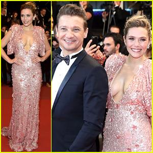 Elizabeth Olsen & Jeremy Renner Work the Cannes Red Carpet for 'Wind River'