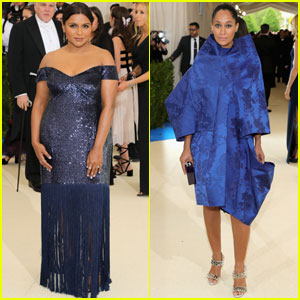 Mindy Kaling & Tracee Ellis Ross Are Beauties in Blue on Met Gala 2017 Carpet