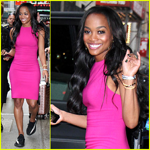 The Bachelorette's Rachel Lindsay Wears Sneakers with Her Hot Pink Dress in NYC!