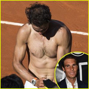 Tennis Pro Rafael Nadal Goes Shirtless During Madrid Match