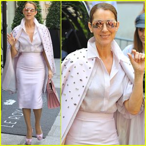 Celine Dion Looks Pretty in Pink While Out in Paris