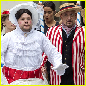 James Corden Films 'Mary Poppins' Skit with Ben Kingsley!