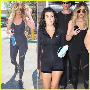 Kourtney & Khloe Kardashian Rock Unitards For a Workout
