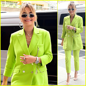 Rita Ora Wears Fluorescent Green Pantsuit for NYC Promo