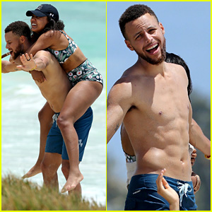 Shirtless Stephen Curry Hits the Beach with Wife Ayesha!