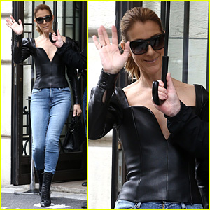 Celine Dion Stuns in Leather Corset While Out & About in Paris