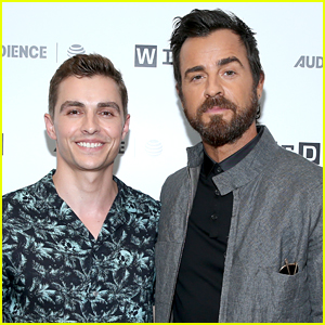 a1ef0fc9 Dave Franco buddies up with co-star Justin Theroux at the Wired Cafe at  2017 Comic-Con on Thursday morning (July 20) in San Diego, Calif.