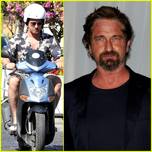 Gerard Butler Suits Up in Ischia, Rides Scooter Around Town