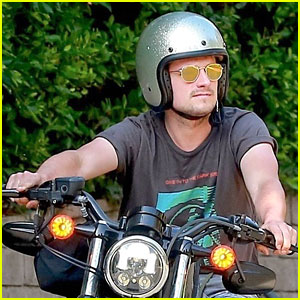Josh Hutcherson Enjoys Weather, Takes Motorcycle For Spin