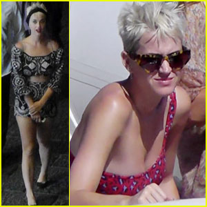 Katy Perry Rocks Off-the-Shoulder Swimsuit On Boat in Italy
