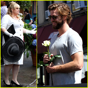 Liam Hemsworth Has a Flower for Rebel Wilson on 'Isn't It Romantic' Set