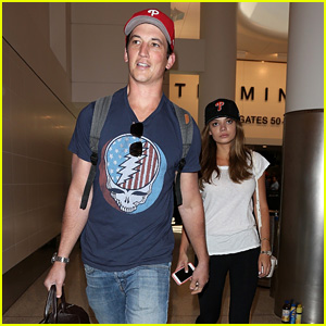 Miles Teller & Keleigh Sperry Wear Matching Hats After Vacation