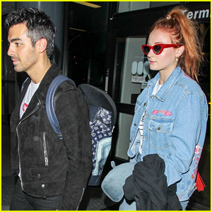 Sophie Turner Reps Joe Jonas on Her Jacket at LAX Airport