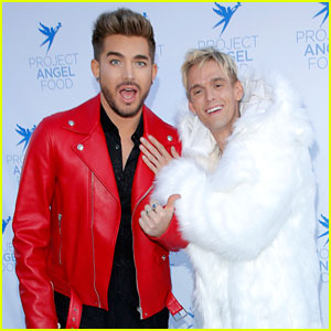 Aaron Carter Meets Up with Adam Lambert at Project Angel Food's Awards Ceremony