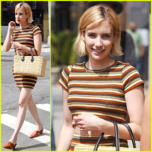 Emma Roberts Rocks Striped Crop Top & Matching Skirt in NYC