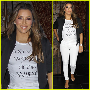 Eva Longoria Shows Off Her Love for Wine at Dinner!