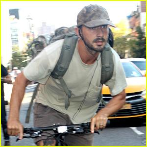 Shia LaBeouf Rides His Bike Around the Big Apple