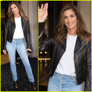 Cindy Crawford Rocks Leather Jacket for Her Book Signing in Paris