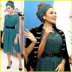 Eva Mendes Makes Rare Public Appearance to Promote Fashion Line!