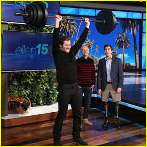 Jake Gyllenhaal Takes On Ellen's Boston Strongman Challenge for Charity - Watch Below!