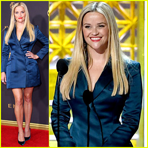 Reese Witherspoon Wears Blue Blazer Dress to Emmys 2017