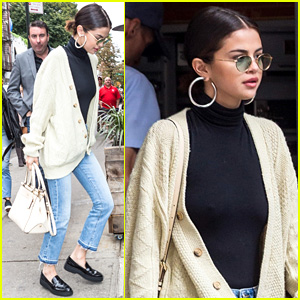 Selena Gomez is Ready for Fall in Knitted Sweater & Turtleneck