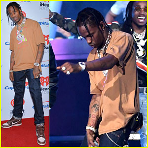 Travis Scott Performs at iHeartRadio Music Festival, Kylie Jenner Watches From Side of Stage