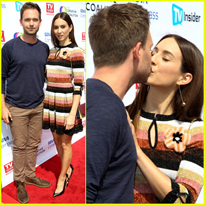 Patrick j adams supports tv wife meghan markle at royal wedding troian bellisario patrick j adams share a red carpet kiss thecheapjerseys Gallery