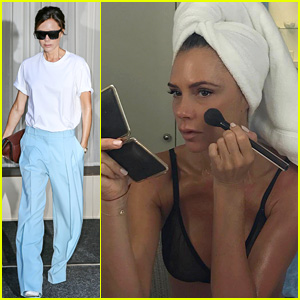 Victoria Beckham Poses in Her Bra While Putting on Makeup