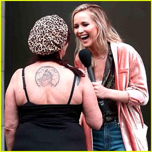 Jennifer Lawrence llega a las Calles para 'Jimmy Kimmel Live!' Segmento
