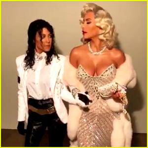 Kim & Kourtney Kardashian Dress as Madonna & Michael Jackson for Halloween