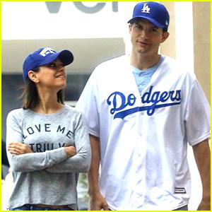 Mila Kunis & Ashton Kutcher Get Ready to Cheer on Dodgers at Game 6!