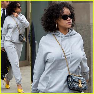 Rihanna Keeps It Comfy, But Still Stylish, in a Gray Sweatsuit