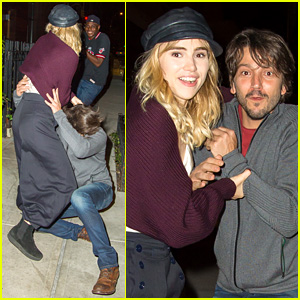 Suki Waterhouse Catches Diego Luna as He Takes a Tumble!