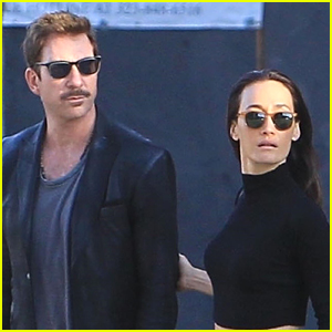 Dylan McDermott Sports a Mustache While Out with Maggie Q