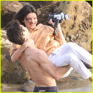 Kendall Jenner Joins Hot Shirtless Guy for Beach Photo Shoot!
