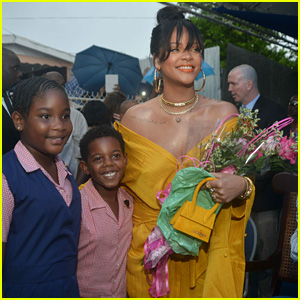 Rihanna Battles Rainy Weather at Street-Naming Ceremony in Barbados