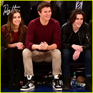Ansel Elgort, Girlfriend Violetta Komyshan, & Timothee Chalamet Team Up for Basketball Game