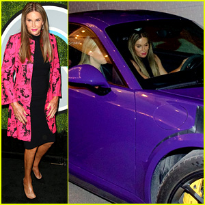 Caitlyn Jenner Rides to the GQ Men of the Year Party in Her Purple Sports Car