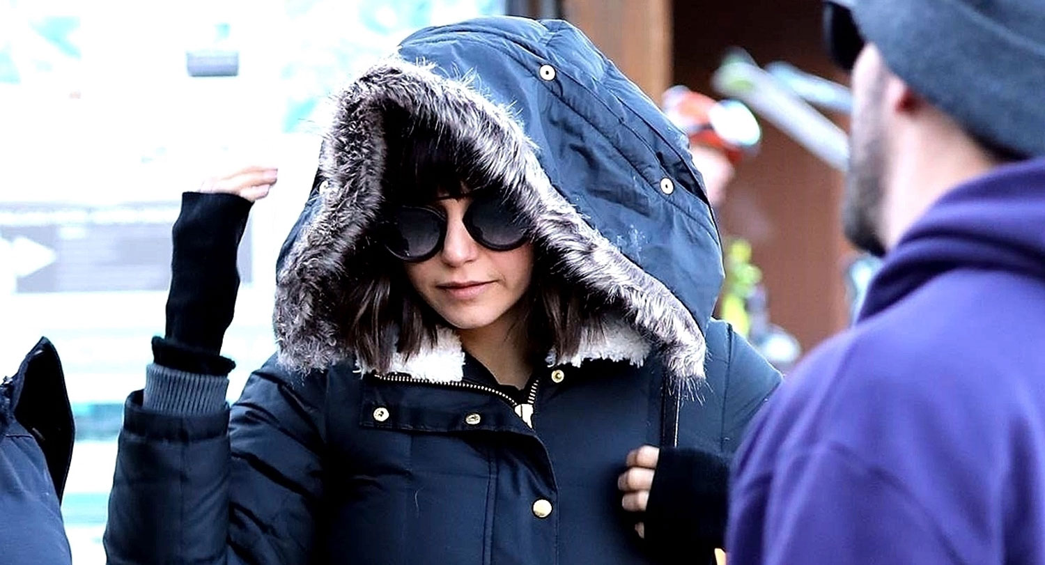 nina dobrev stays warm while stepping out in aspen nina. Black Bedroom Furniture Sets. Home Design Ideas