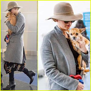 Jennifer Lawrence & Her Dog Pippi Jet Out of New York City