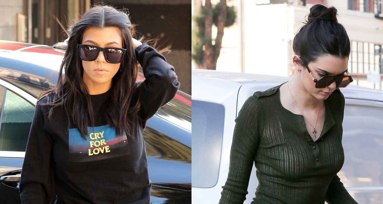 Kourtney Kardashian & Kendall Jenner Wear Matching Denim While Out in LA