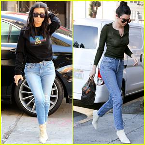 Kourtney Kardashian & Kendall Jenner Wear Matching Denim While Out in LA