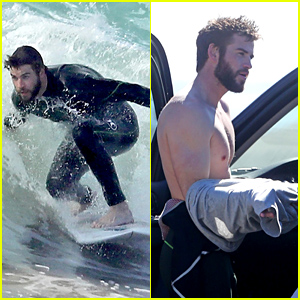 Liam Hemsworth Looks Hot While Catching a Wave in Malibu!