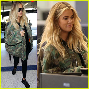 Pregnant Khloe Kardashian Covers Up in Camo at LAX Airport